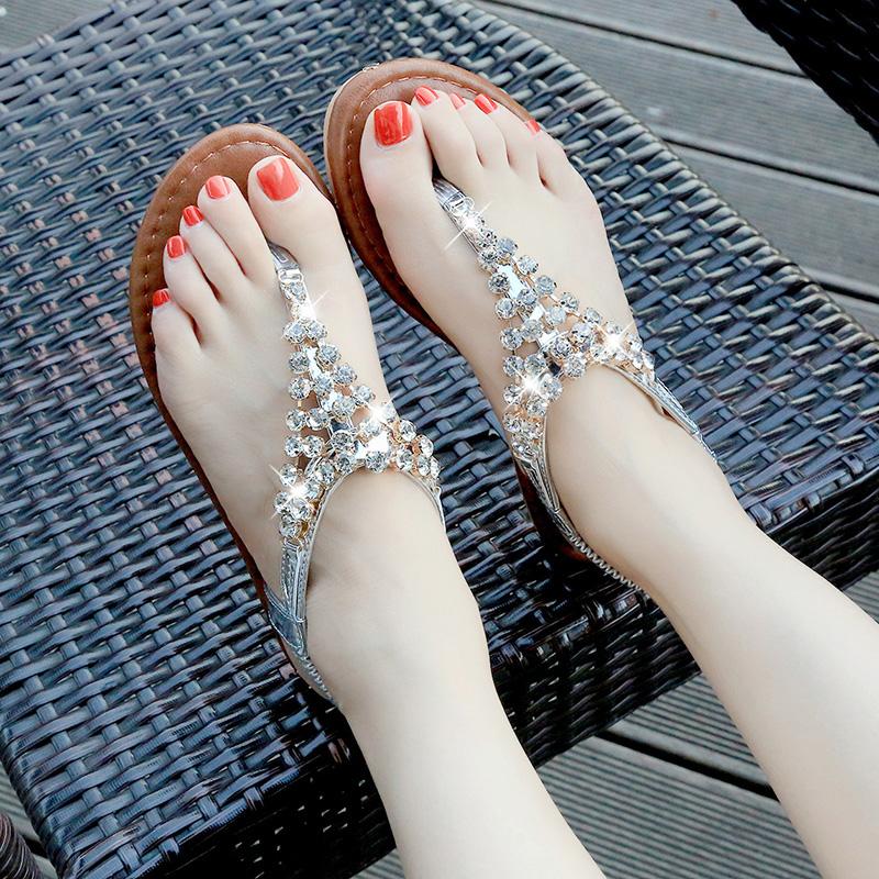 Jual Korea Fashion Style Baru Sandal Jepit Datar Sandal Summer Silver Lembut Dan Nyaman Branded Original